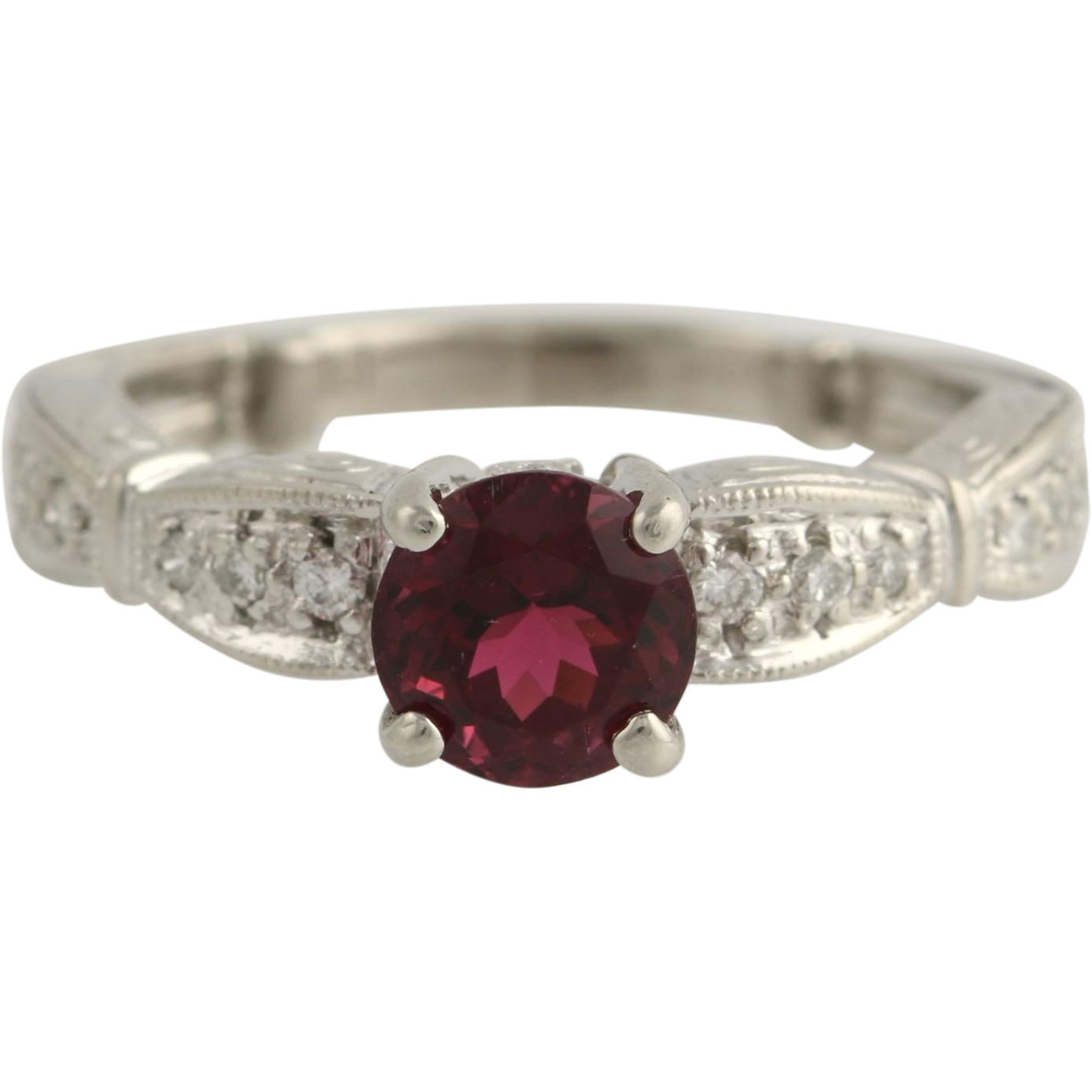 Tourmaline & Diamond Engagement Ring - Platinum 1.26ctw Rubellite Solitaire
