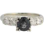 Spinel and Diamond Engagement Ring - 18k White Gold & Palladium 1.42ctw