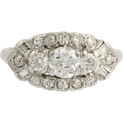 Retro Diamond Cocktail Ring - 14k White Gold Polished Size 7 1/2 Genuine 1.13ctw L3780