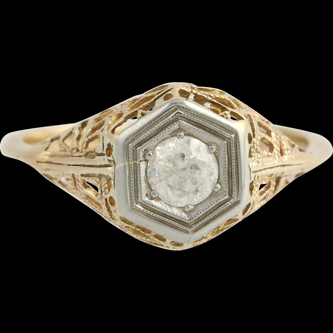 Retro Diamond Engagement Ring - 14k Yellow & White Gold Size 8 Genuine .34ctw