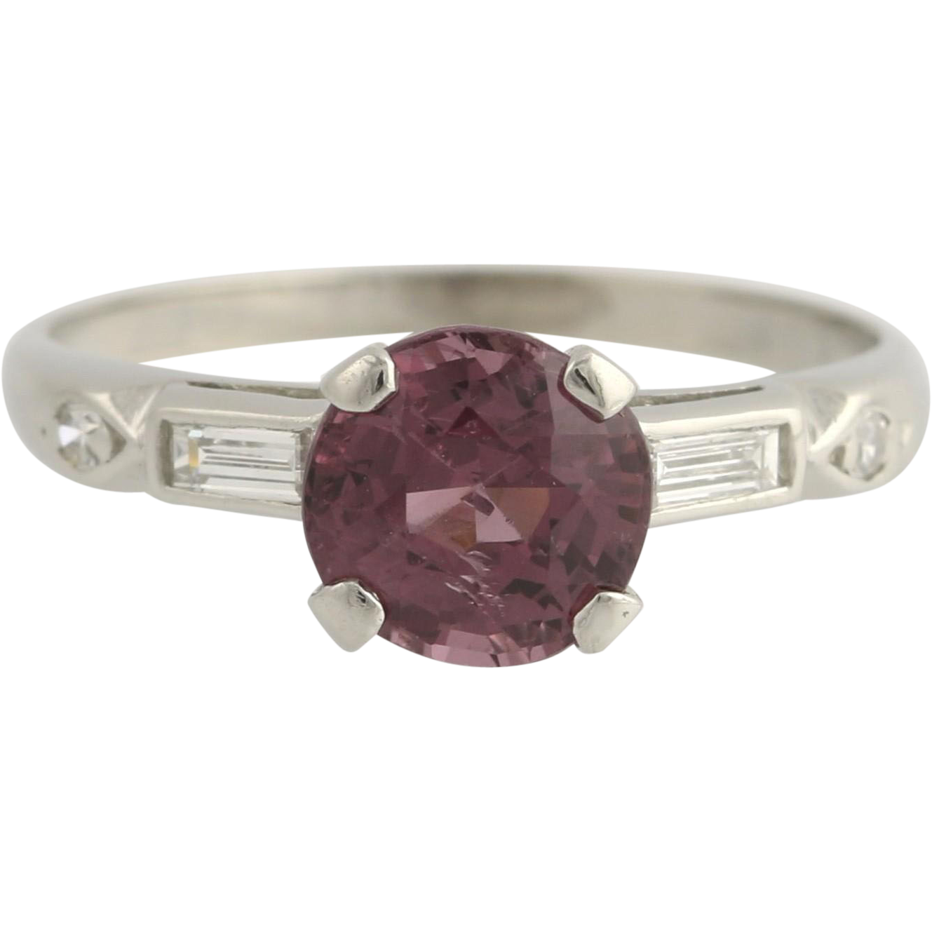 Spinel & Diamond Ring - Platinum Women's 4 Solitaire with Accents Fine 1.29ctw