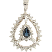 Sapphire & Diamond Pendant - 14k White Gold September Birthstone Genuine 1.00ctw