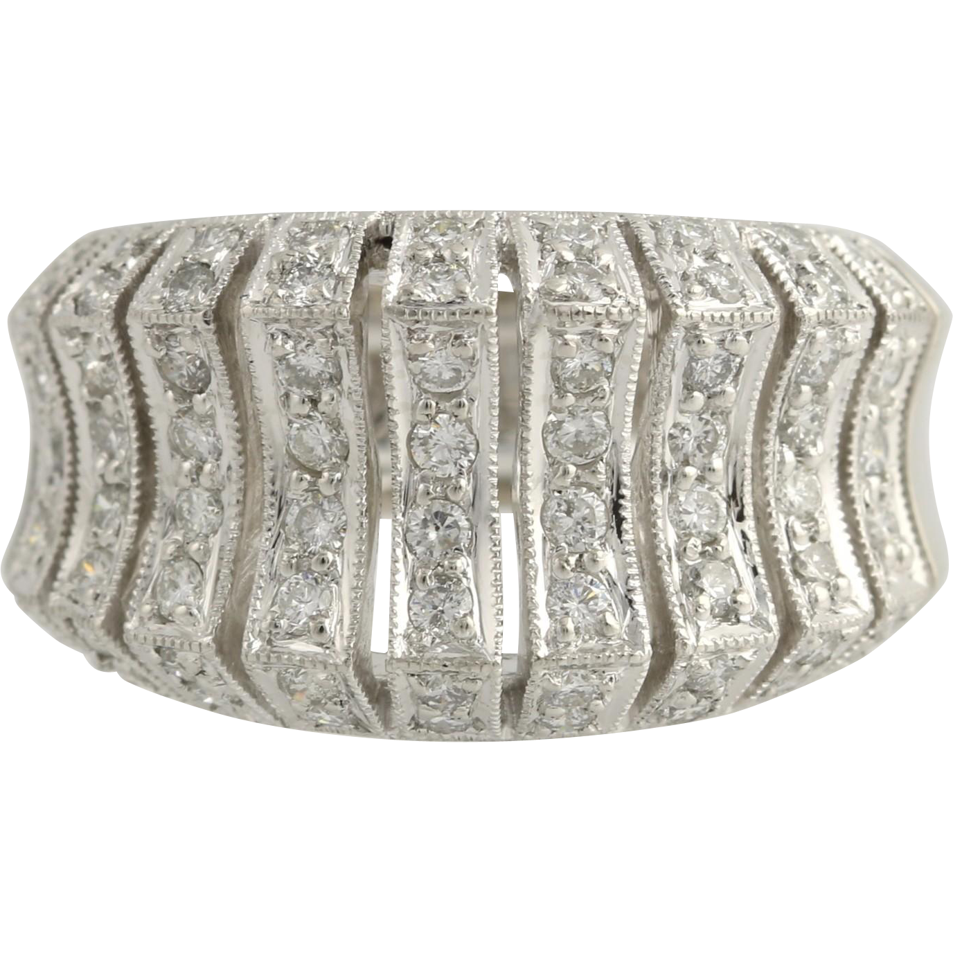Contoured Diamond Cocktail Band - 900 Platinum Women's 6 1/2 Genuine 1.00ctw