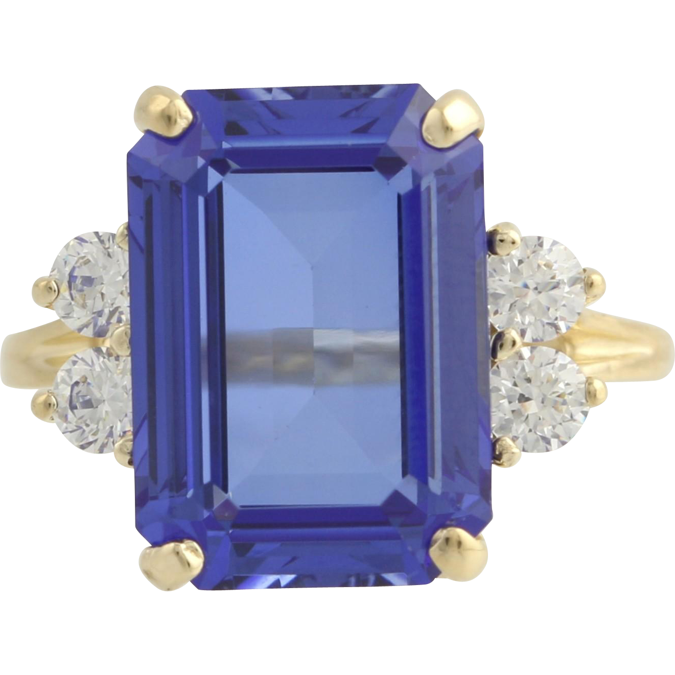 Synthetic Sapphire & Cubic Zirconia Cocktail Ring- 14k Yellow Gold Size 6 3/4 CZ