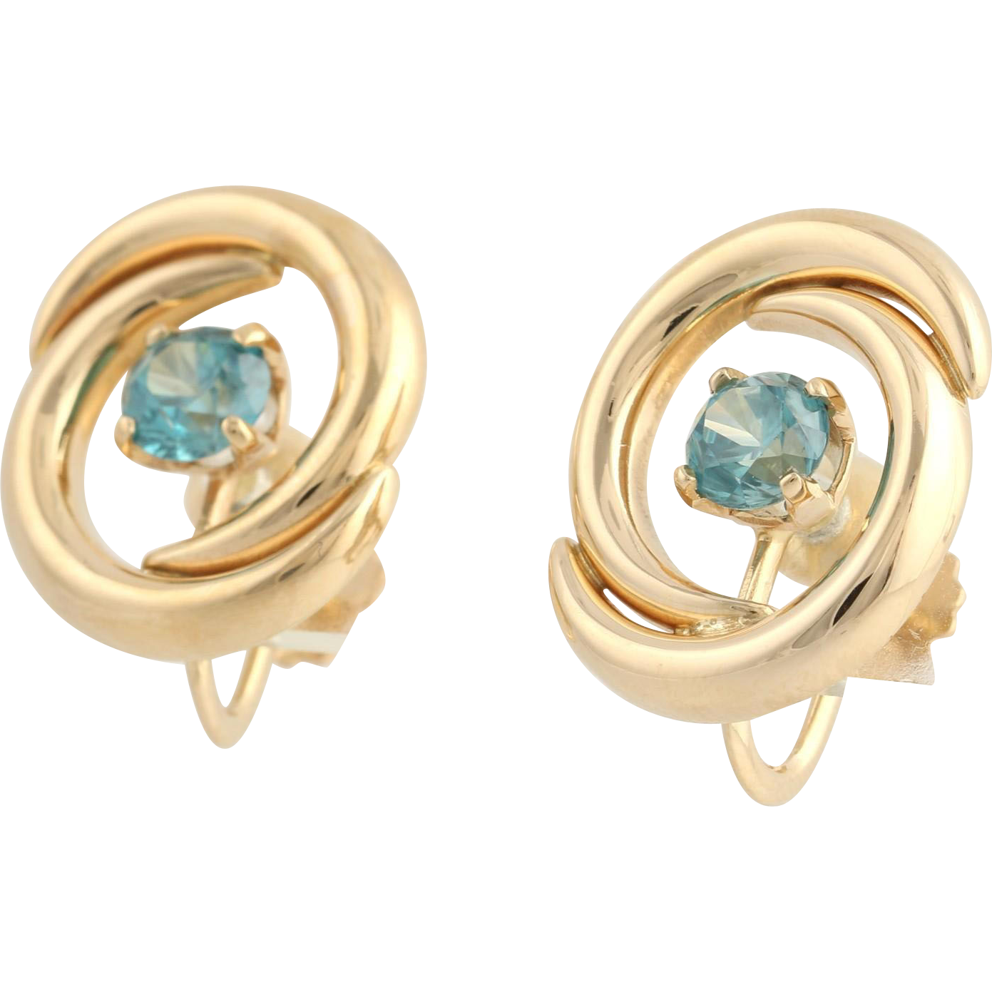 Blue Zircon Swirl Earrings - 14k Yellow Gold Non-Pierced Screw Oval 2.30ctw
