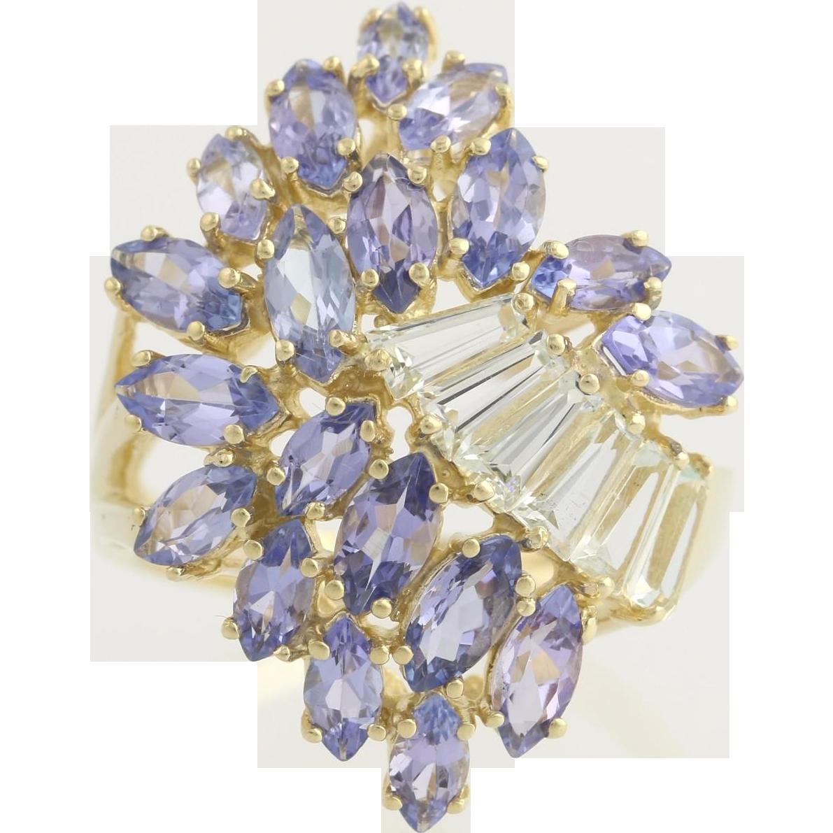 Tanzanite & Aquamarine Cluster Cocktail Ring - 14k Yellow Gold Genuine 3.26ctw