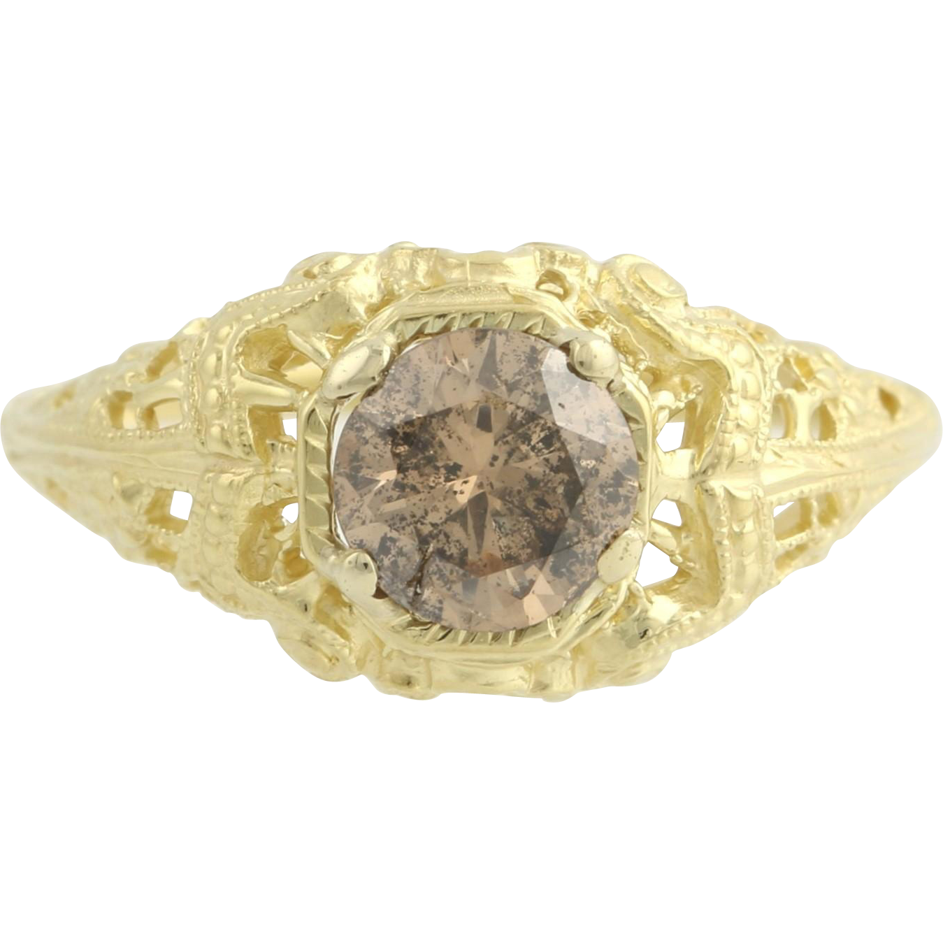 Vintage Style Diamond Ring - 18k Yellow Gold Filigree Engagement Brown .92ct