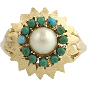 Cultured Pearl & Turquoise Cocktail Ring - 14k Yellow Gold Floral Design 9 1/4