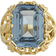 Syn Blue Spinel Cocktail Ring - 18k Yellow Gold High Karat Solitaire 10.35ct