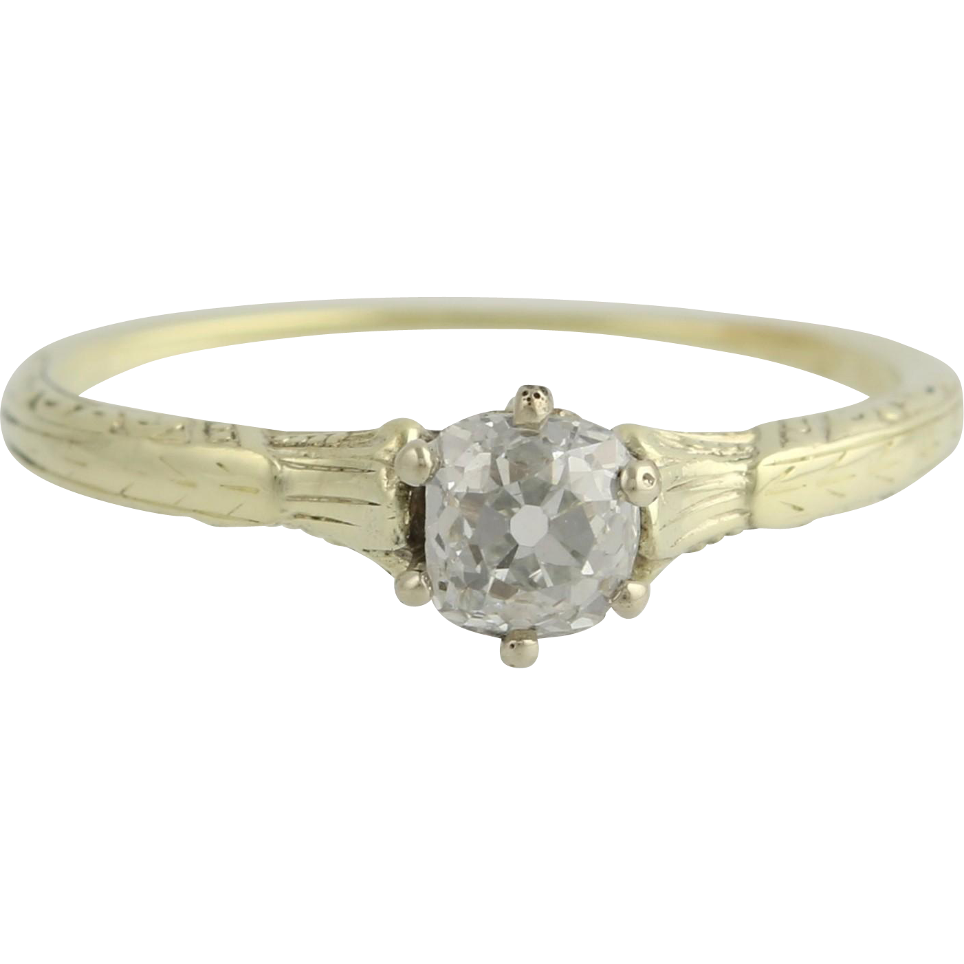 Art Deco Diamond Solitaire Engagement Ring 14k Yellow Gold Vintage Natural .43ct