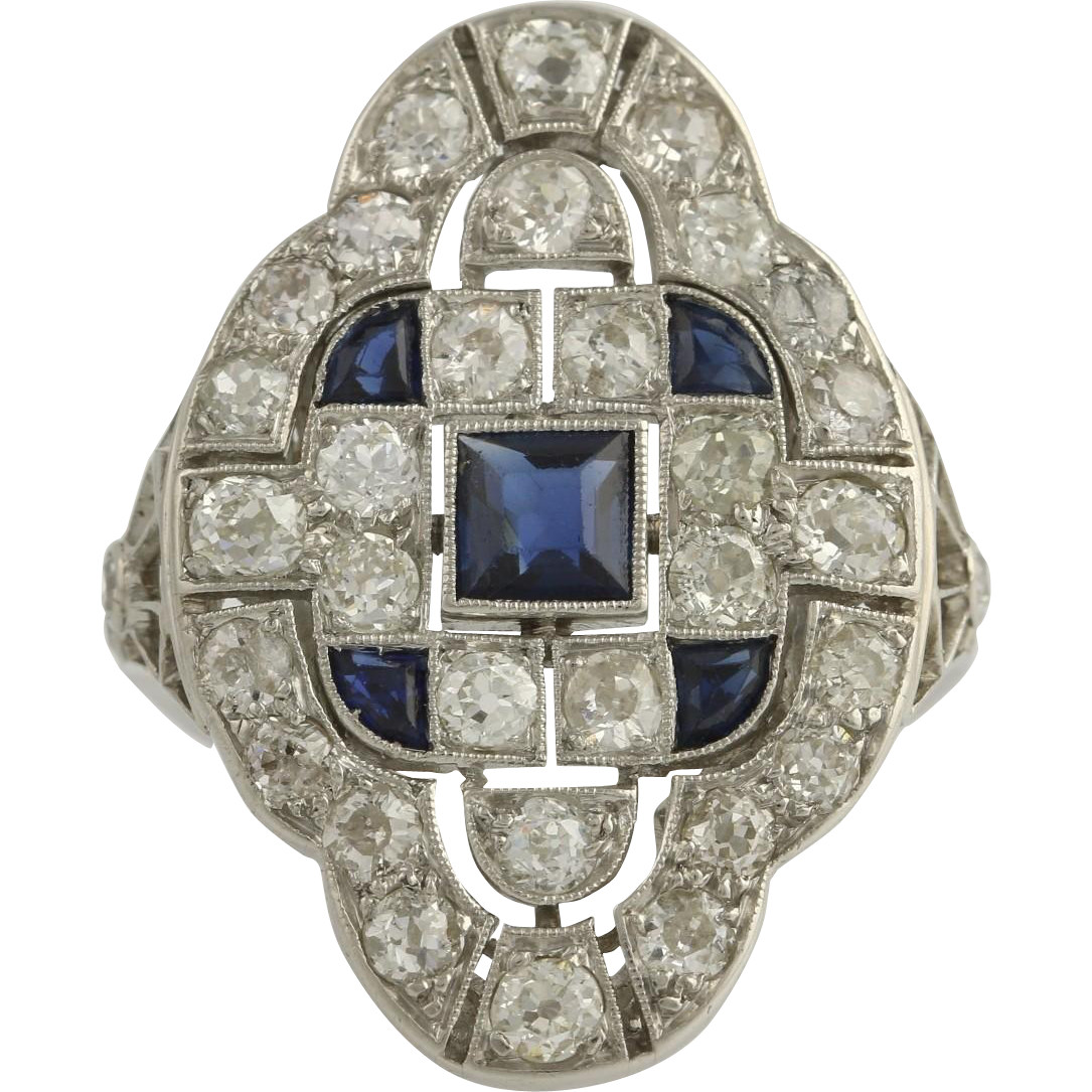 Art Deco Diamond & Synthetic Sapphire Cocktail Ring - Platinum Genuine 3.09ctw