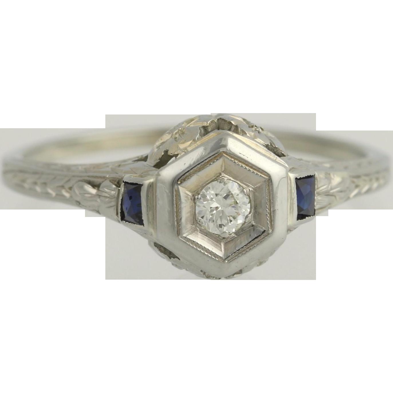 Art Deco Diamond & Syn. Sapphire Engagement Ring - 18k White Gold Fine .22ctw