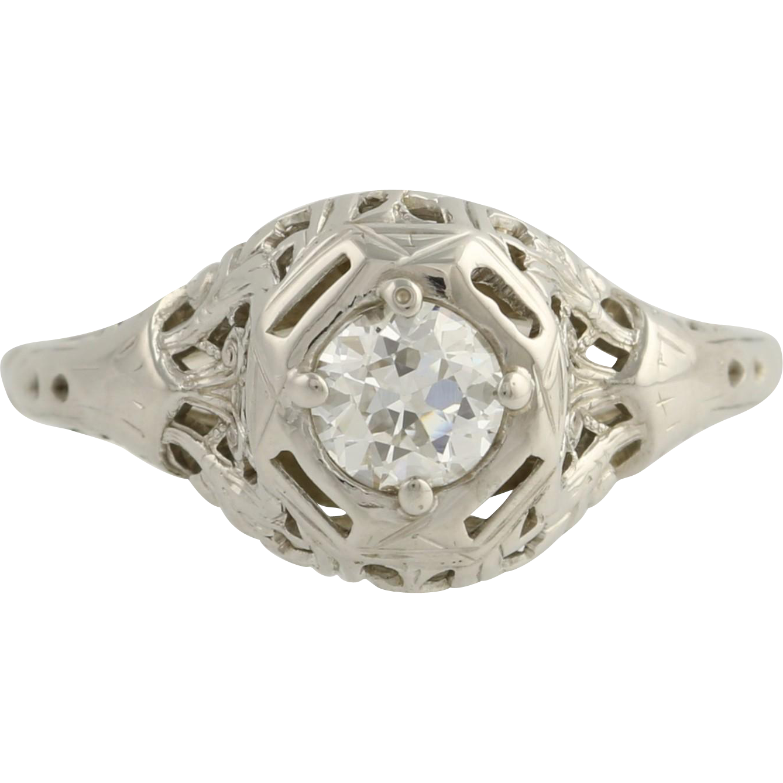 Art Deco Engagement Ring Diamond Solitaire - 18k White Gold Vintage Round .38ct