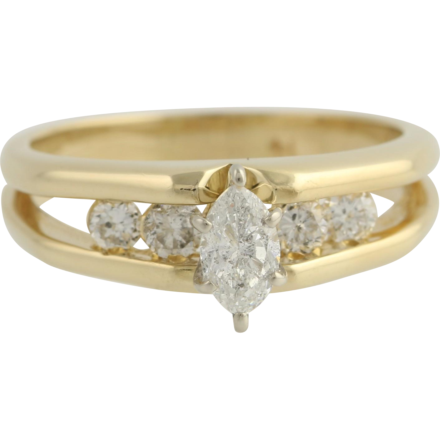 Diamond Engagement Ring - 14k Yellow Gold Natural .56ctw Split Shank