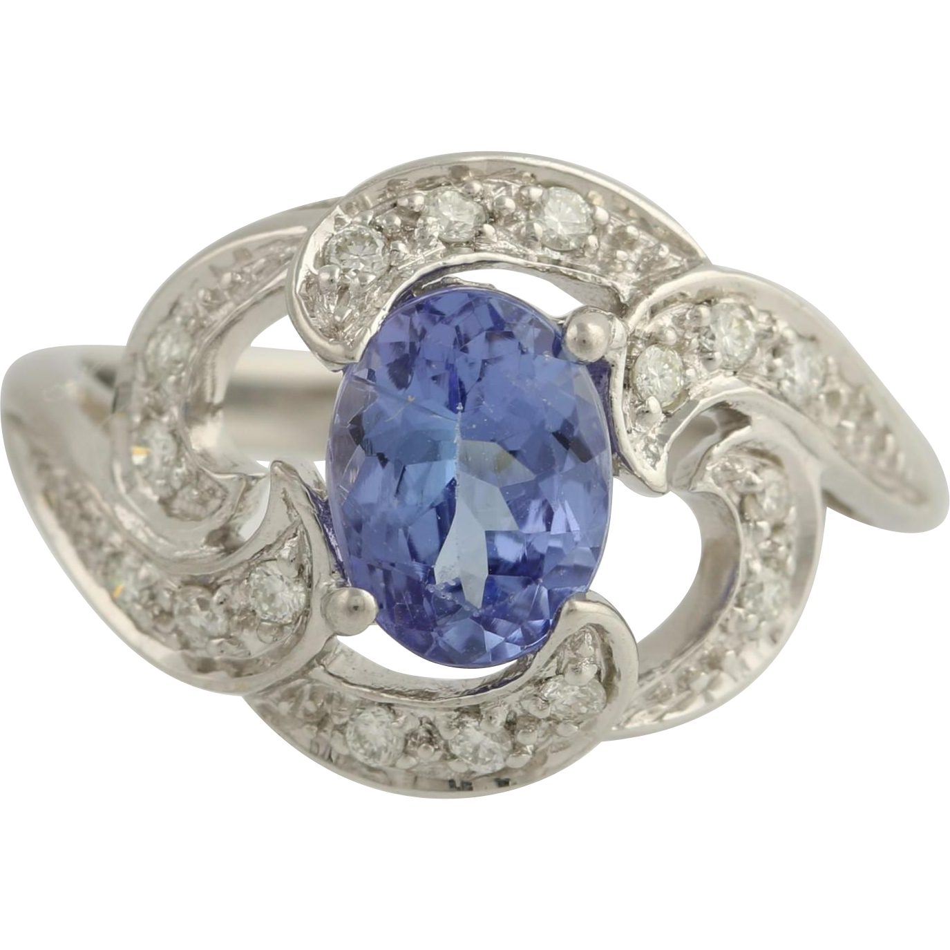 Tanzanite & Diamond Cocktail Ring - 18k White Gold Oval Swirl Genuine 1.63ctw