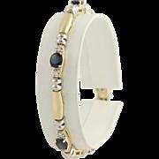 "Sapphire and Diamond Link Bracelet 7"" - 14k Yellow & White Gold Genuine 4.25ctw"