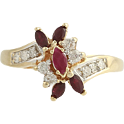 Ruby and Diamond Cocktail Bypass Ring - 14k Yellow & White Gold Genuine 1.00ctw