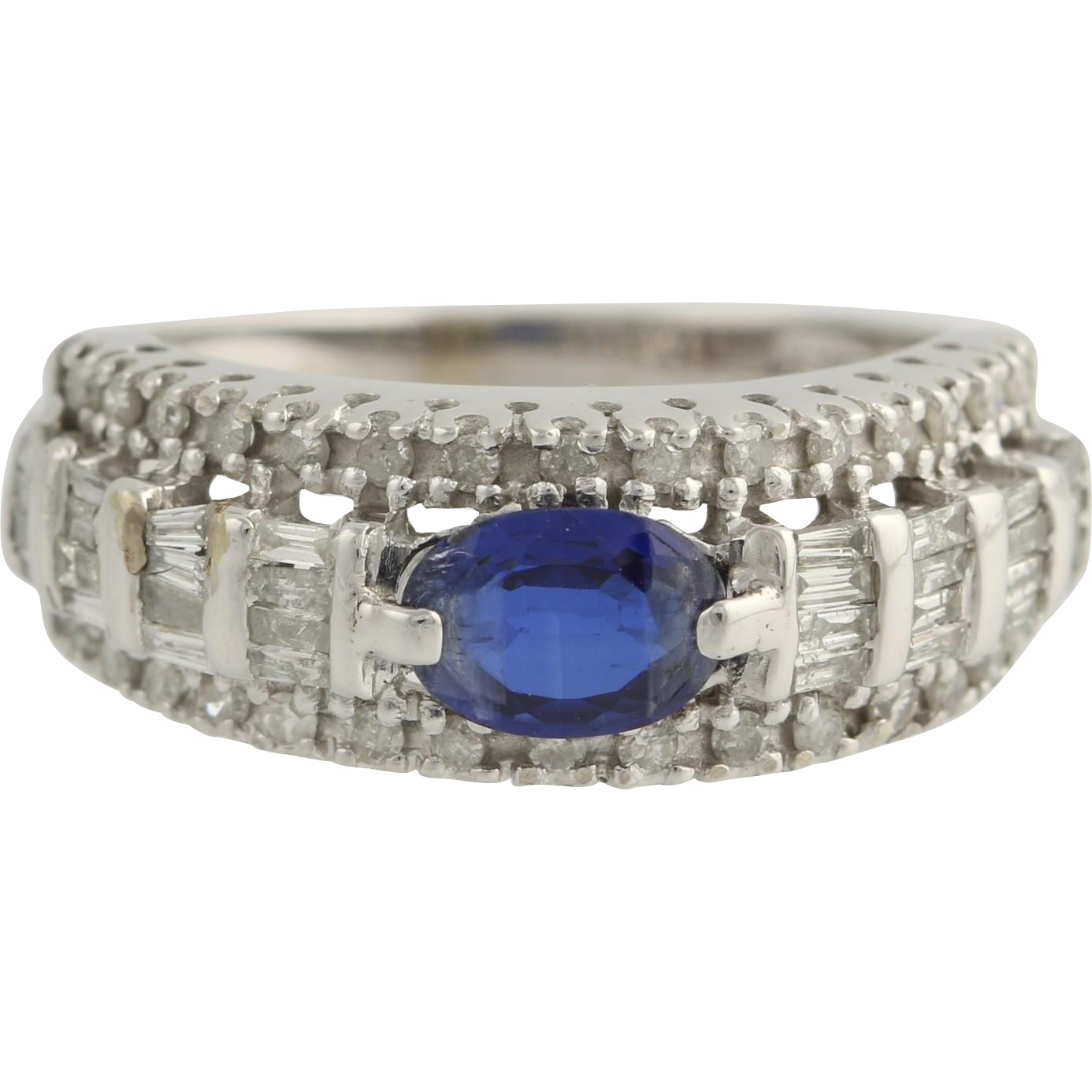 Sapphire & Diamond Cocktail Band - 10k White Gold Anniversary Genuine 1.76ctw