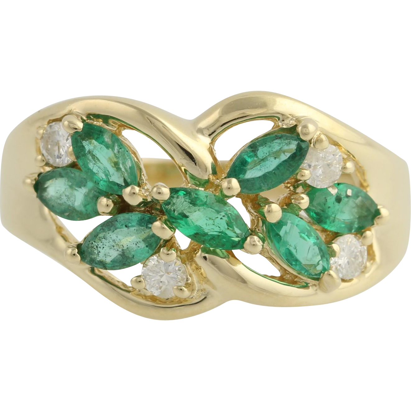 Emerald & Diamond Cocktail Ring - 14k Yellow Gold May Birthstone Genuine .96ctw