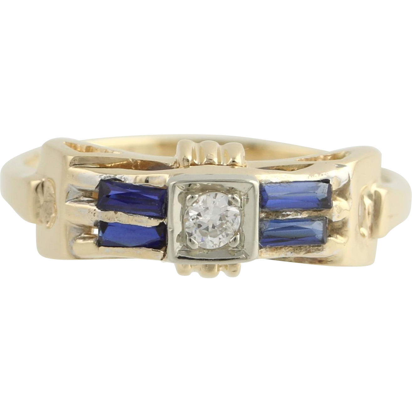Art Deco Diamond and Synthetic Sapphire Ring - 14k Yellow & White Gold Fine .40ctw