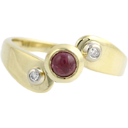 Ruby & Diamond Bypass Ring - 18k Yellow Gold Women's Cabochon Cocktail Fine
