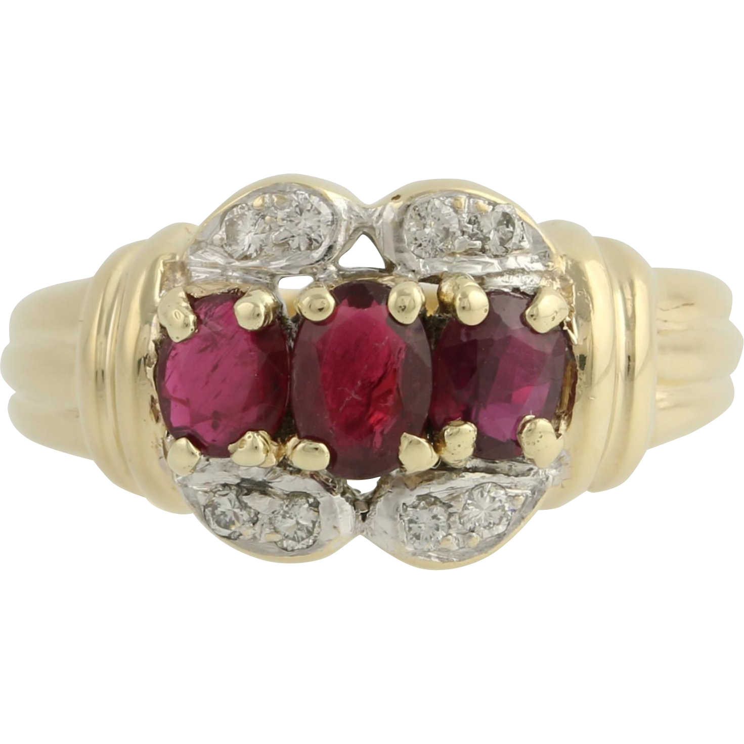 Ruby & Diamond Cocktail Ring - 14k Yellow Gold Genuine Gemstone Women's 1.32ctw