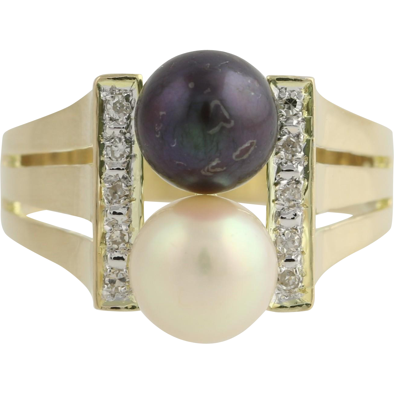 Akoya and Tahitian Pearl Cocktail Ring - 14k Yellow & White Gold Diamonds .06ctw