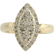 Diamond Cocktail Ring - 10k Yellow & White Gold Women's 7 Genuine .50ctw
