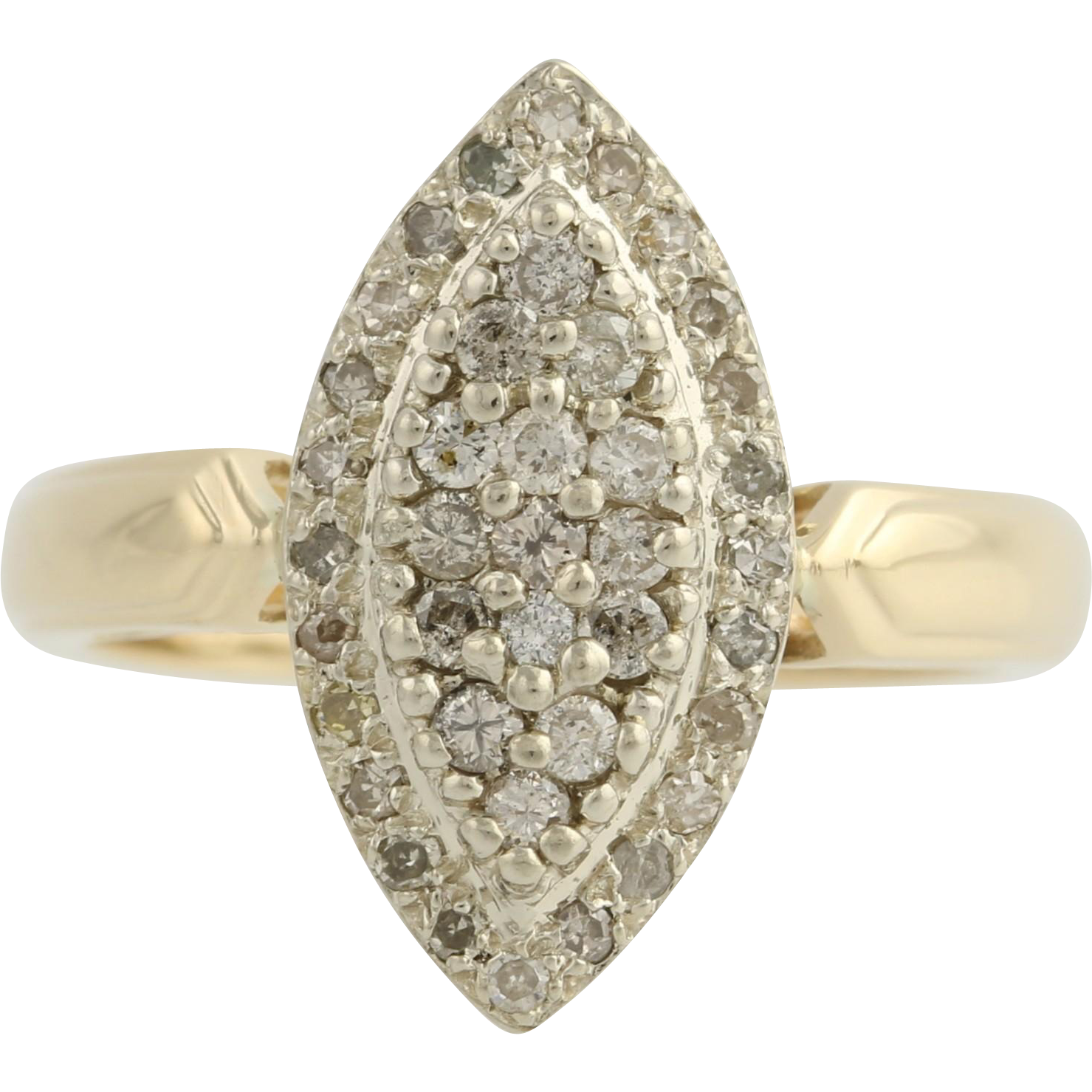 Diamond Cocktail Ring - 10k Yellow & White Gold Women's 7 Genuine .50ctw
