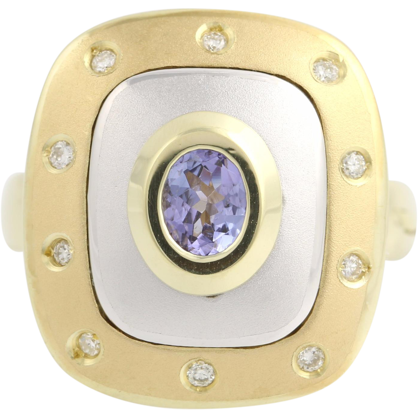 Tanzanite and Diamond Cocktail Ring - 14k Yellow & White Gold Genuine .55ctw
