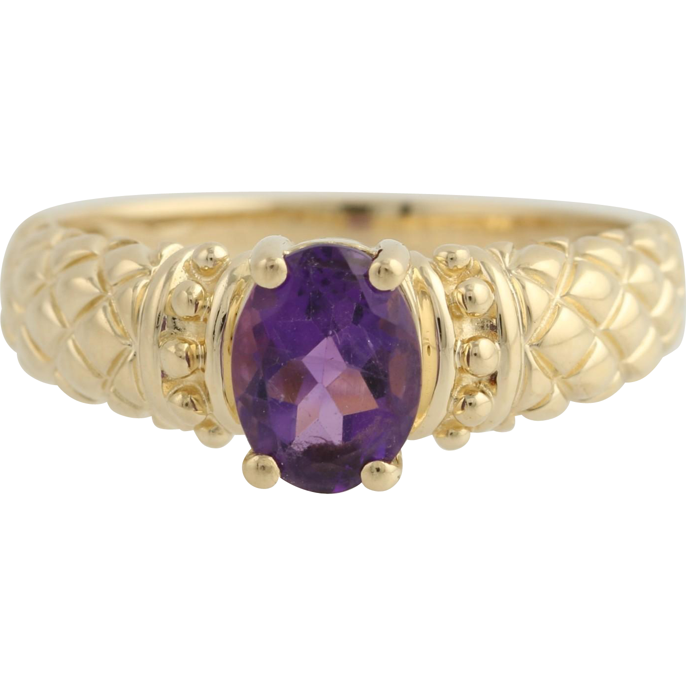 Amethyst Solitaire Ring - 14k Yellow Gold February Birthstone Genuine 1.25ctw