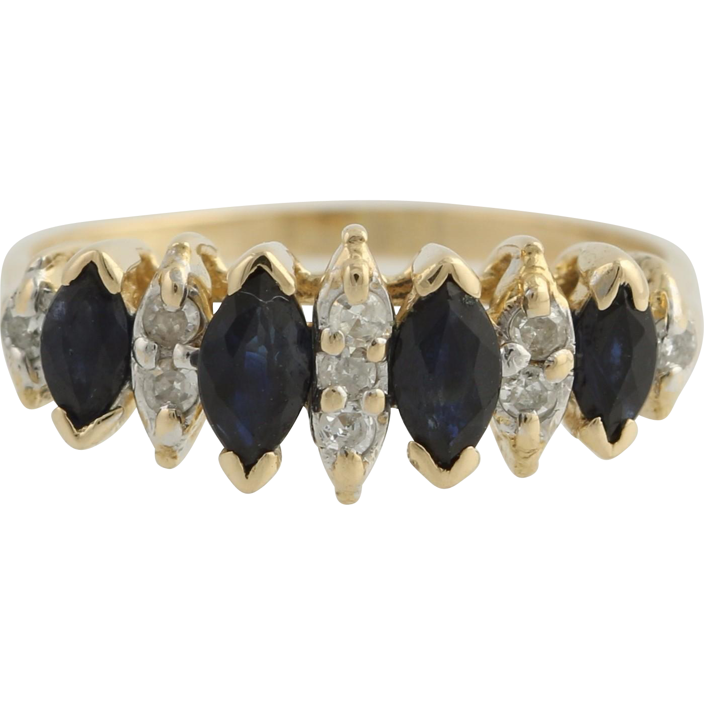 Sapphire and Diamond Cocktail Ring - 14k Yellow & White Gold Size 4 Genuine .84ctw