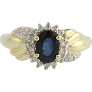 Synthetic Sapphire and Diamond Cocktail Ring- 10k Yellow & White Gold Fine 1.10ctw