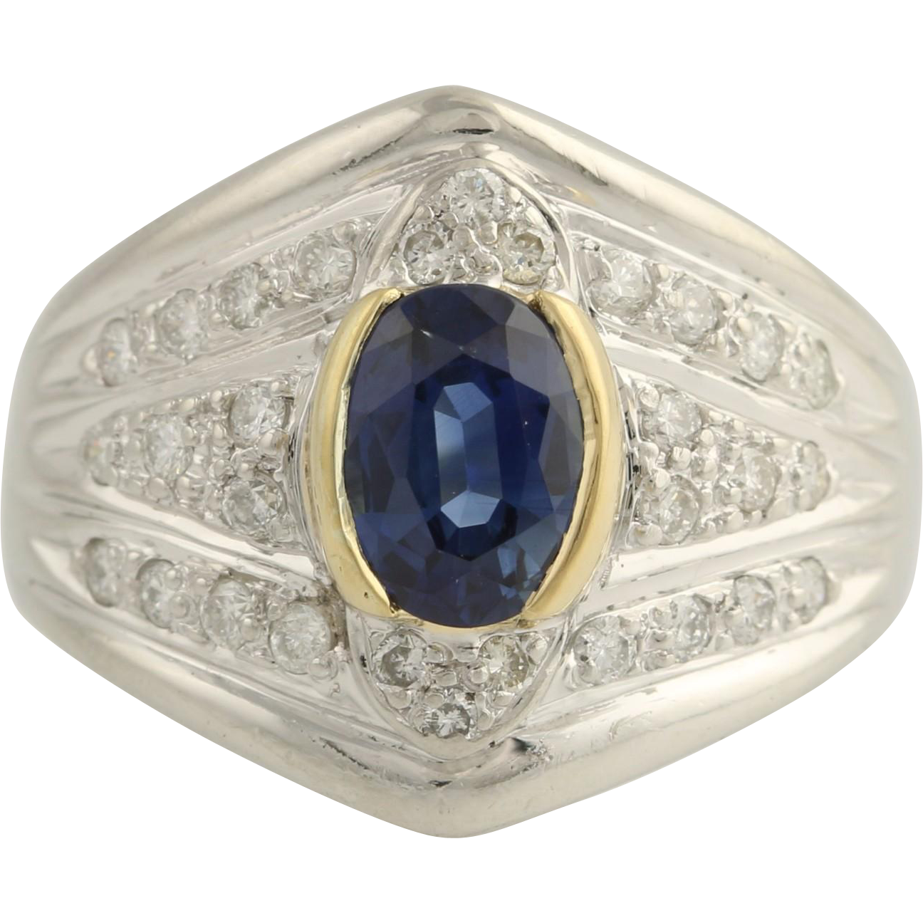 Sapphire and Diamond Cocktail Ring - Platinum & 18k Yellow Gold AA Quality 1.70ctw