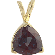 Synthetic Color Change Sapphire Pendant - 14k Yellow Gold Estate Fine 4.50ctw
