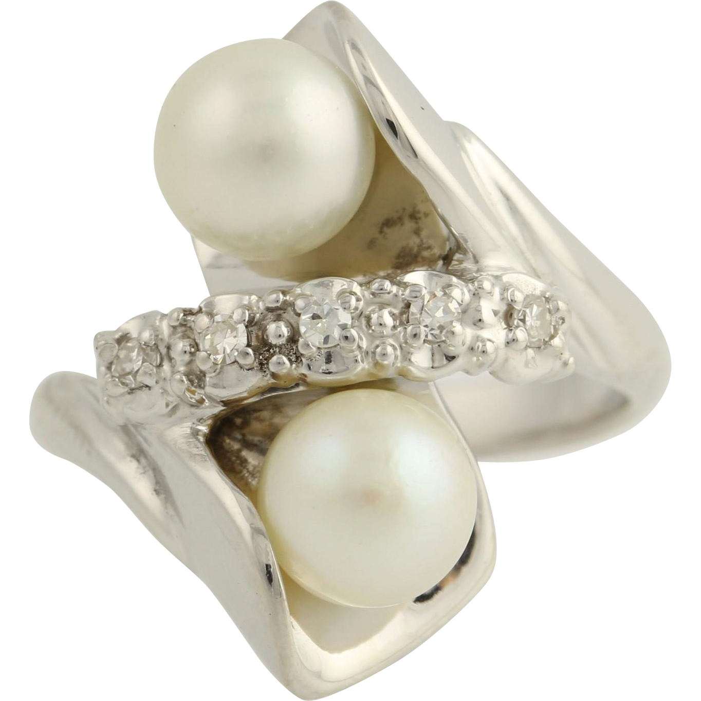 Akoya Pearl & Diamond Bypass Cocktail Ring- 14k White Gold Size 6 Genuine .10ctw