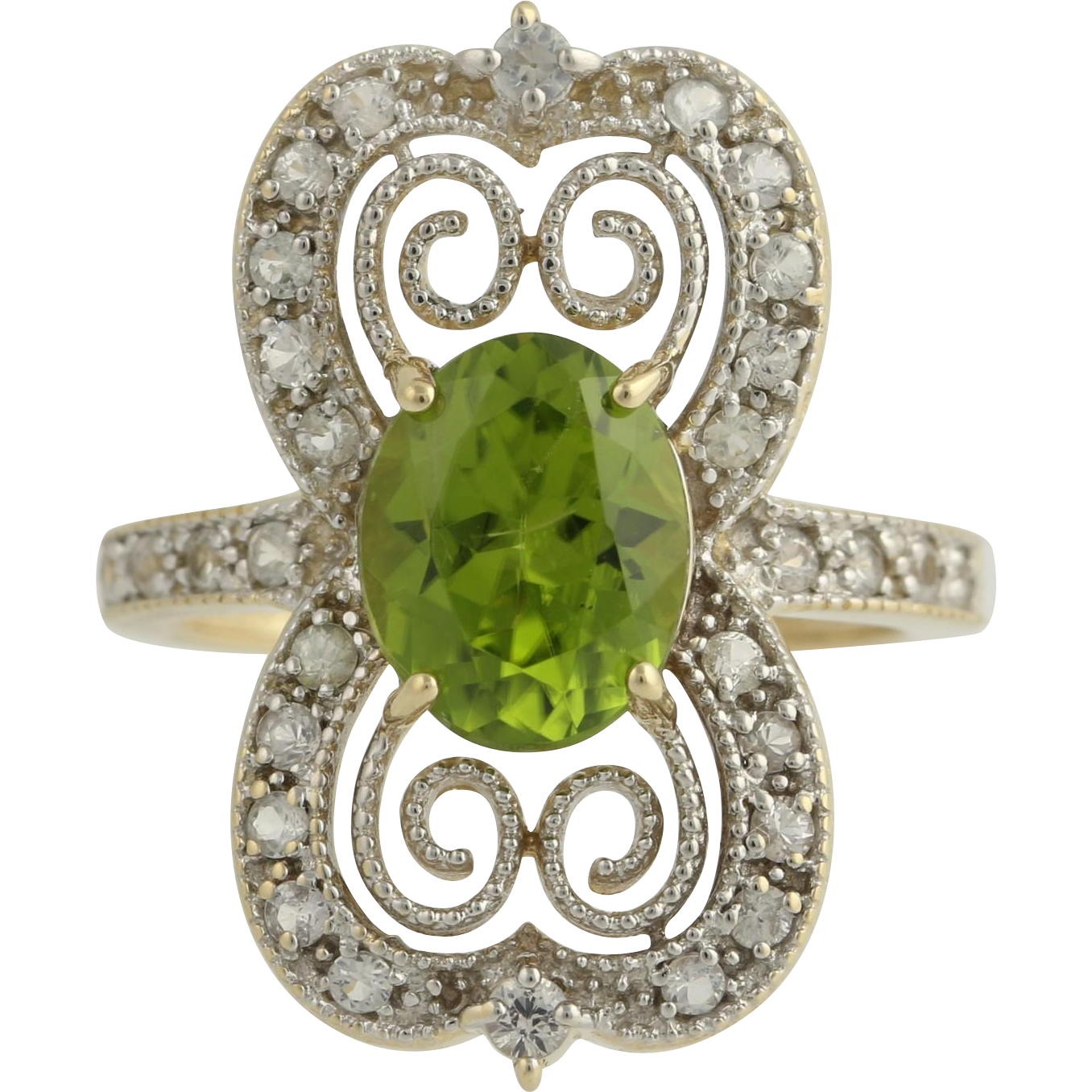 Peridot and White Topaz Cocktail Ring-14k Yellow & White Gold August Fine 4.25ctw