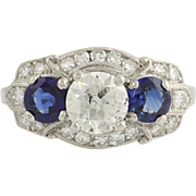 Art Deco Traub Sapphire & Diamond Cocktail Ring- Palladium 7 1/4 Genuine 2.35ctw Unique Engagement Ring