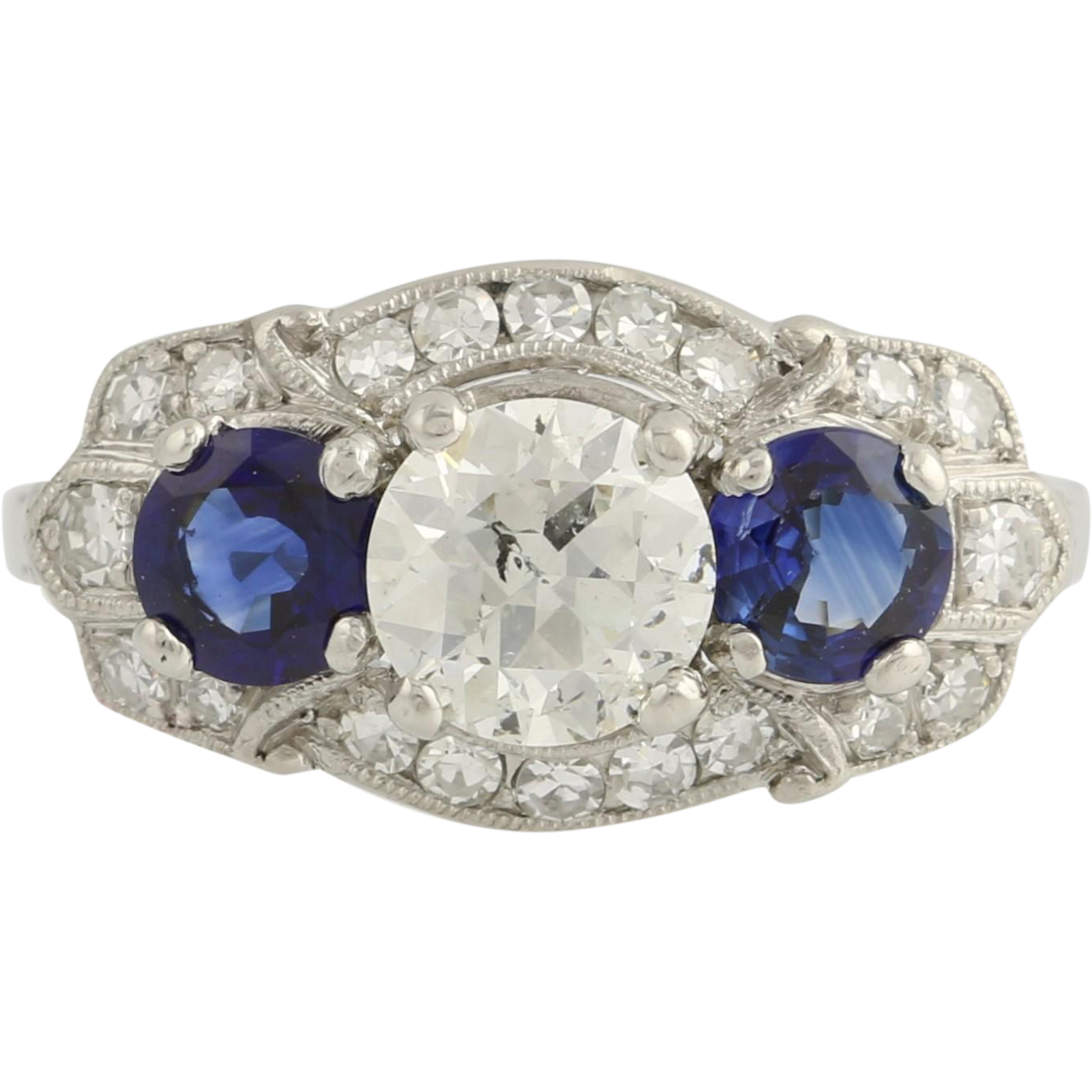 Art Deco Traub Sapphire & Diamond Cocktail Ring- Palladium 7 1/4 Genuine 2.35ctw Unique Engagement Ring