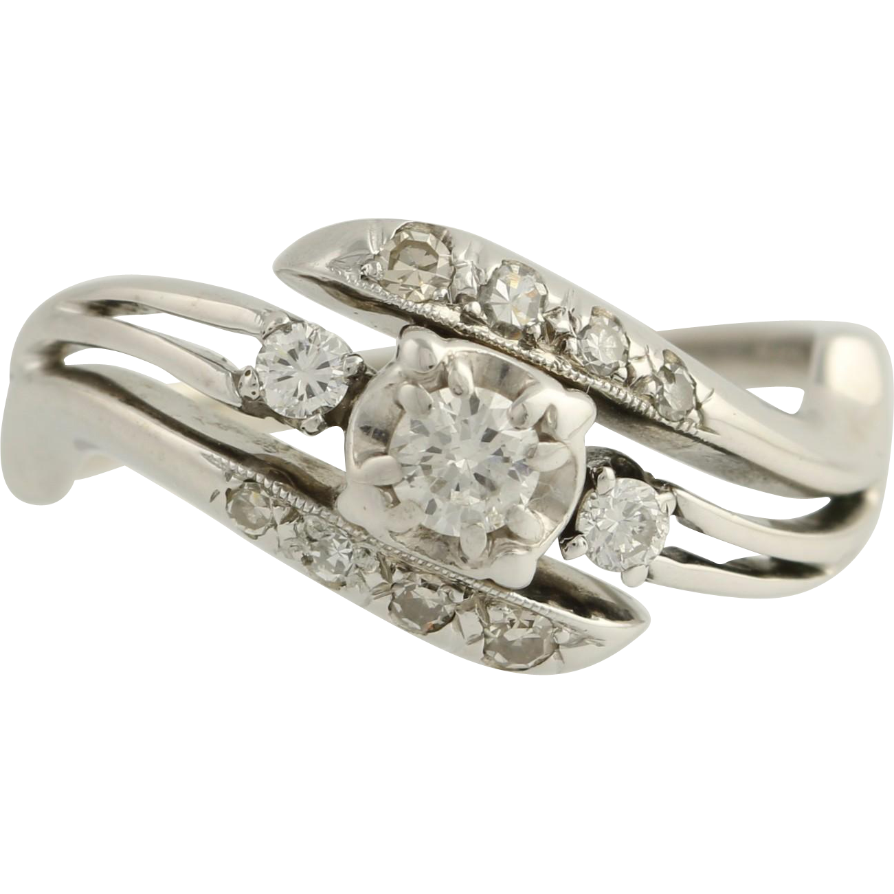 Vintage Diamond Bypass Cocktail Ring - 18k White Gold Size 6 1/2 Genuine .31ctw