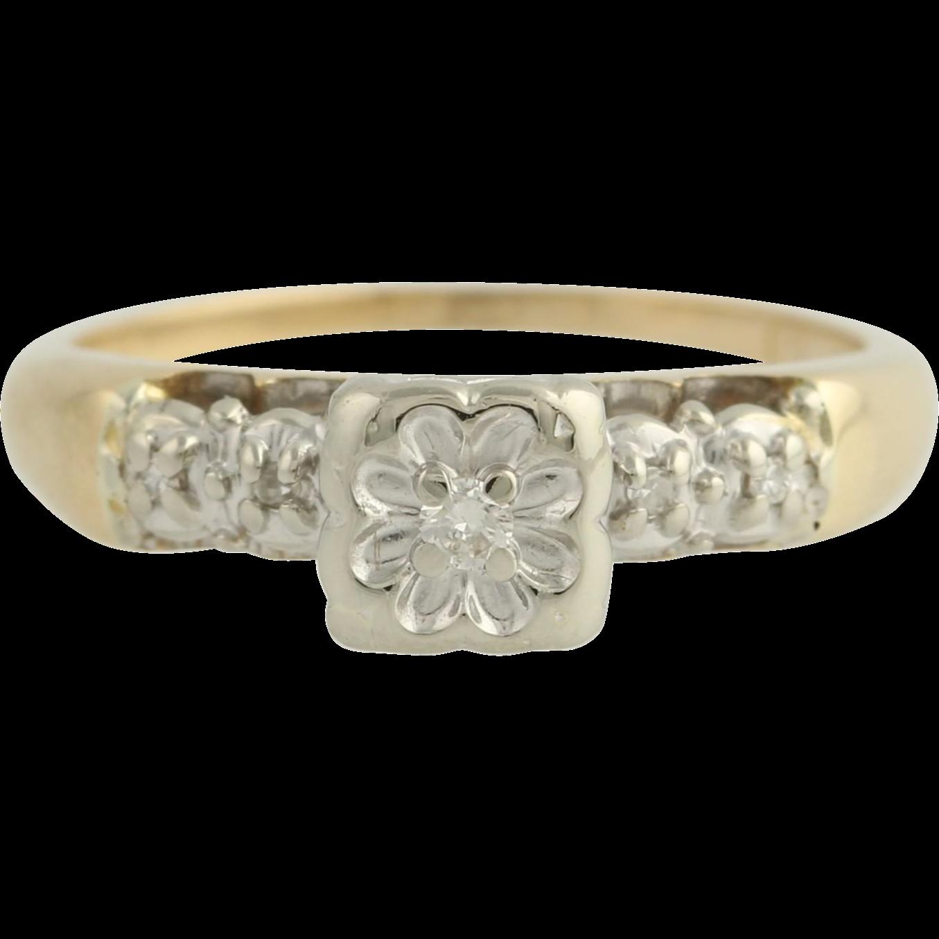 Vintage Diamond Ring - 14k Yellow Gold Band Women's Fine Estate Size 6 Promise