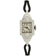 "Art Deco Hamilton Wristwatch 7 1/2""-900 Platinum Stainless Steel Runs Dia .50ctw"