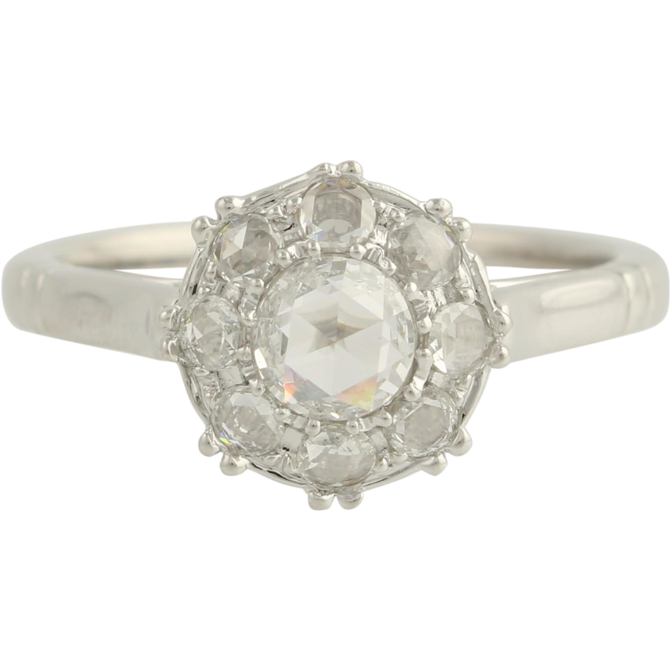 Rose Cut Diamond Engagement Ring - 18k White Gold Size 6 1/2 Genuine .63ctw Unique Engagement Ring