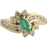 Emerald & Diamond Cocktail Ring - 14k Yellow Gold Curved May Genuine 1.15ctw