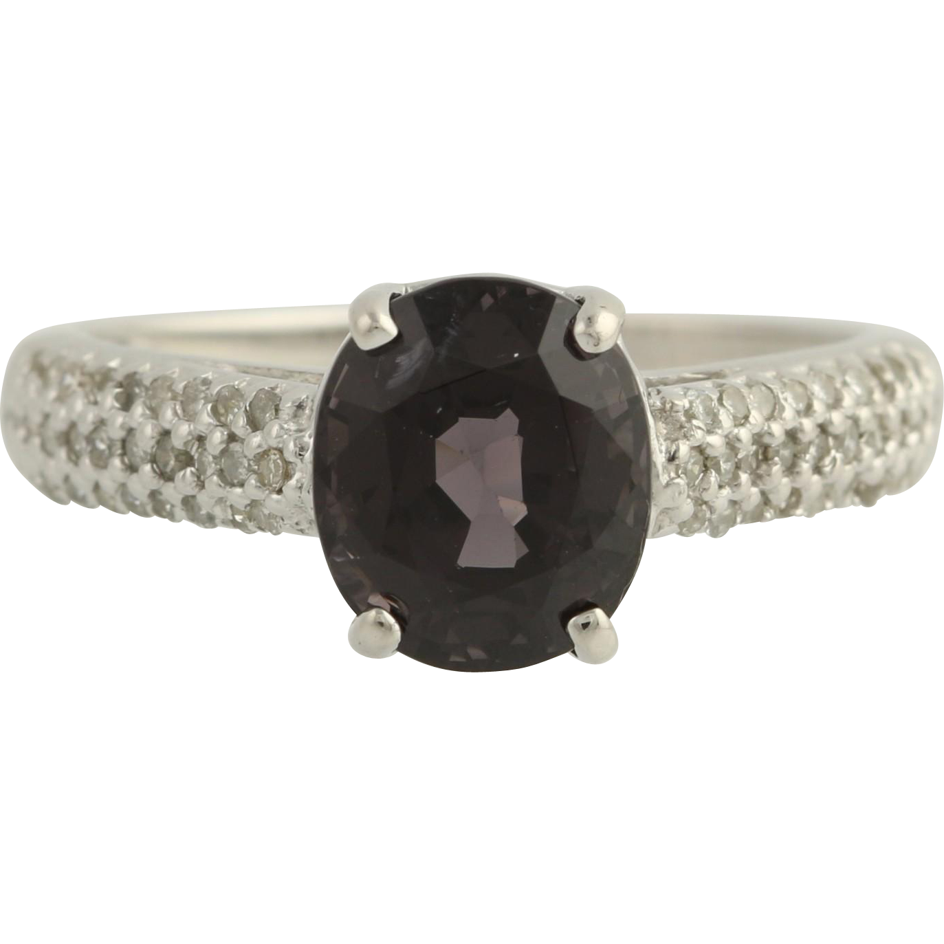 Spinel & Diamond Ring - 10k White Gold Purplish Grey Size 8 Genuine 3.76ctw