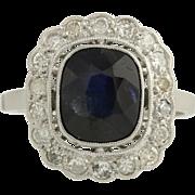 Vintage Sapphire & Diamond Cocktail Ring- Platinum Midnight Blue Genuine 2.50ctw