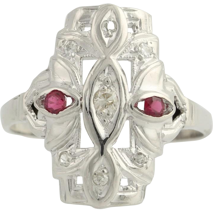 Art Deco Diamond & Synthetic Ruby Cocktail Ring - 14k White Gold Fine .28ctw