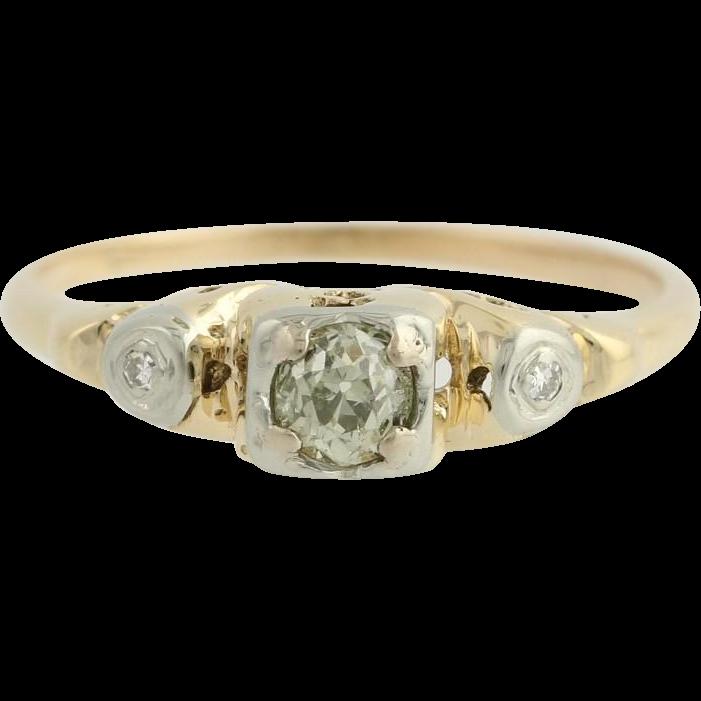 Art Deco Diamond Engagement Ring - 14k & 10k Gold Size 5 3/4 Genuine .18ctw
