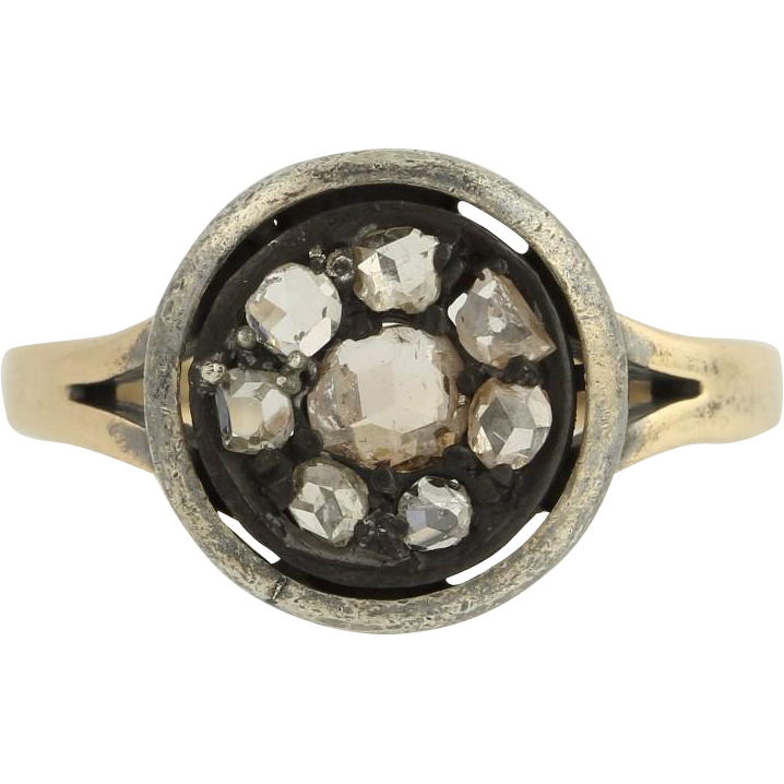 Victorian Diamond Cocktail Ring - 14k Yellow Gold Sterling Silver Fine .60ctw