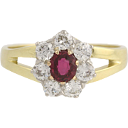 Ruby & Diamond Ring - 18k Yellow Gold and Platinum July Birthstone Genuine 1.15ctw